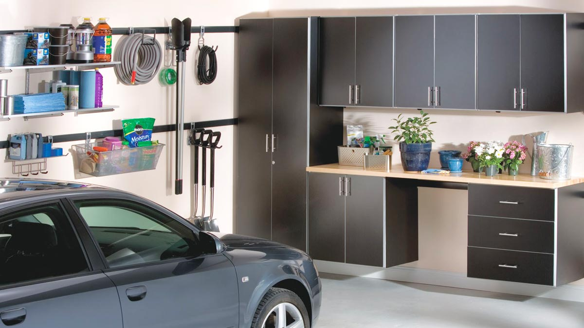 Clean garage with car and shelves
