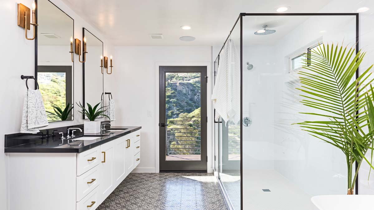 White bathroom with shower stall