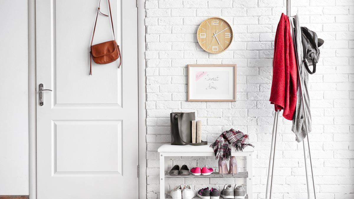 Shoe rack with shoes and bag on door