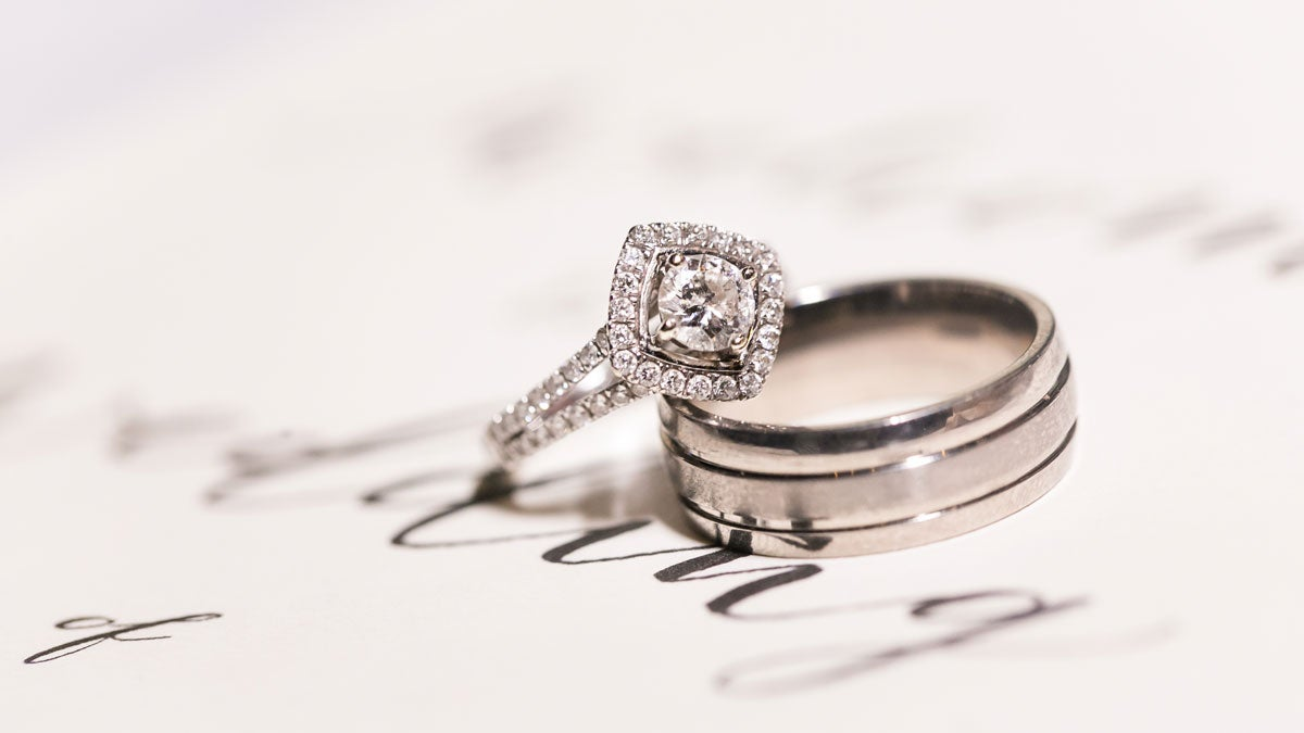 Sparkly diamond ring on a white table