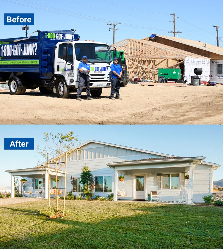 Before and after of a 1-800-GOT-JUNK? truck in front of a construction site that was transformed into a duplex
