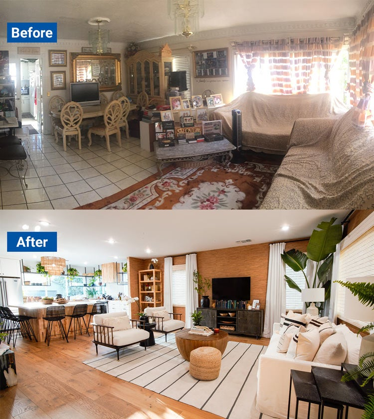 Cluttered living room transformed into an open and modern space