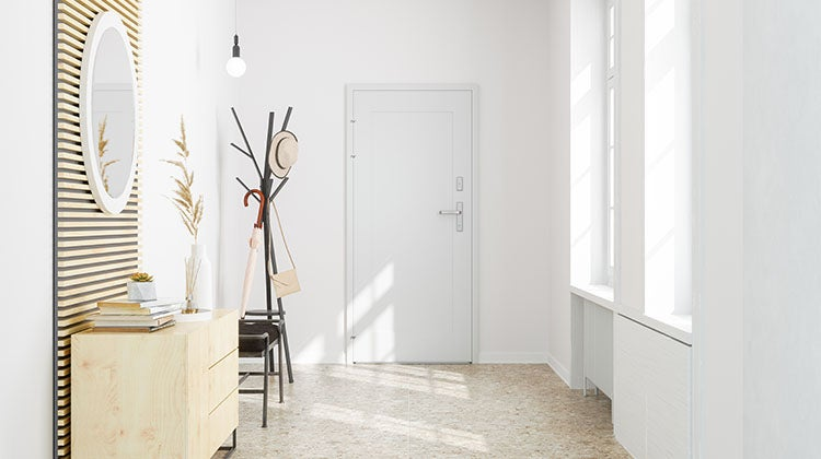 Clean entryway with mirror and coat rack