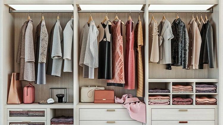 Organized woman's closet