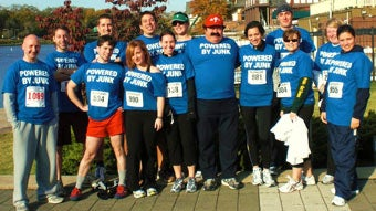 Participants of the Free to Breath 5k in Philadelphia sport 1-800-GOT-JUNK?