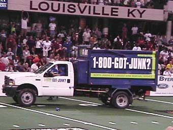 Louisville's 1-800-GOT-JUNK? team supports the Fire Arena Football team