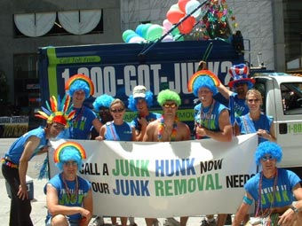 San Francisco's junk hauling team participates in the local Pride Parade