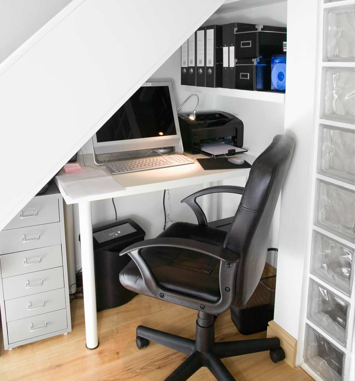 Black chair in small office book