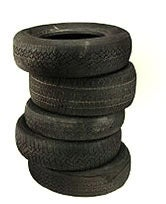 Old Tires Ready for Disposal & Recycling