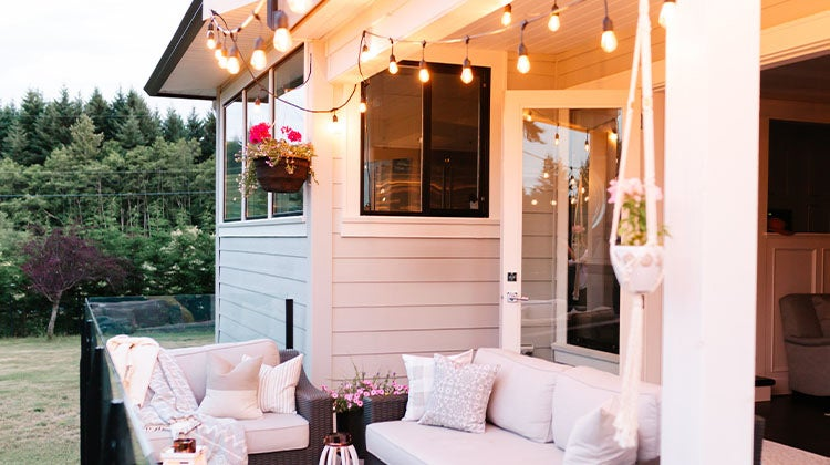 Beautiful patio space with hanging string lights