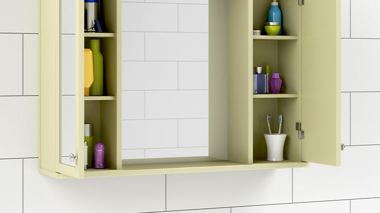 Bathroom medicine cabinet with hidden storage