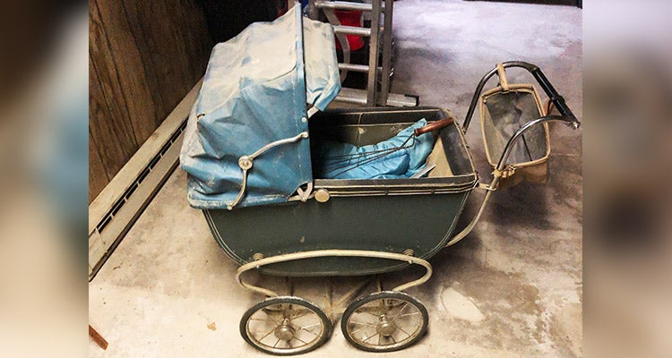 old baby stroller with blue hood