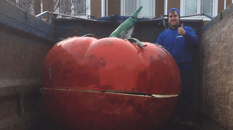 Big red tomato sculpture