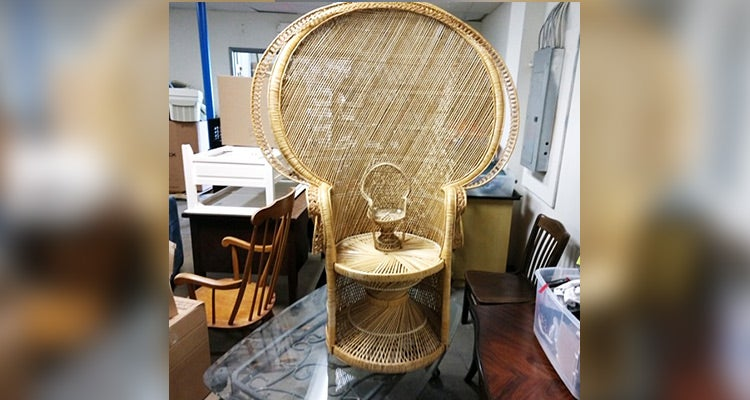 large weaved light brown chair