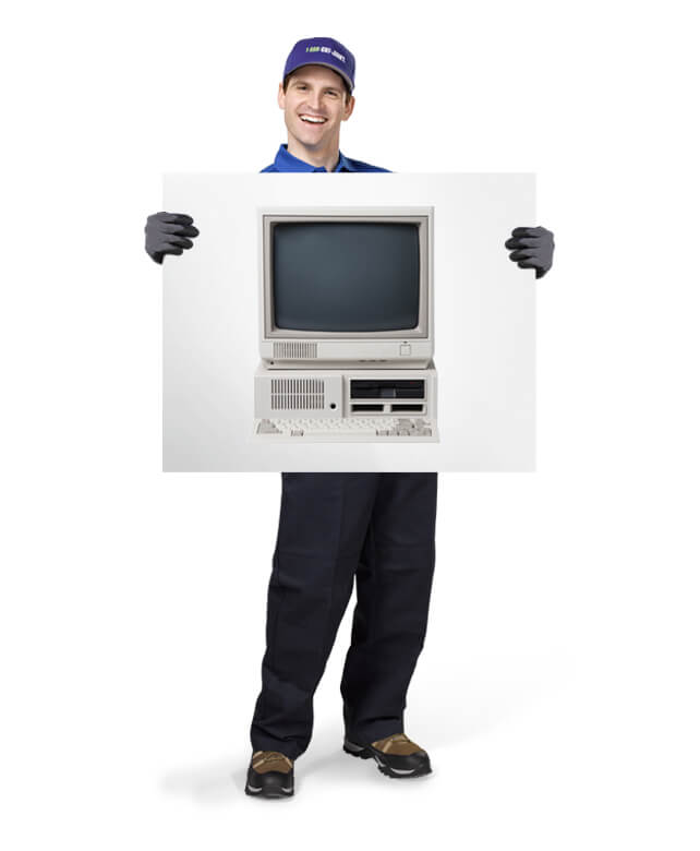 Uniformed TOM ready to haul your old computer monitors
