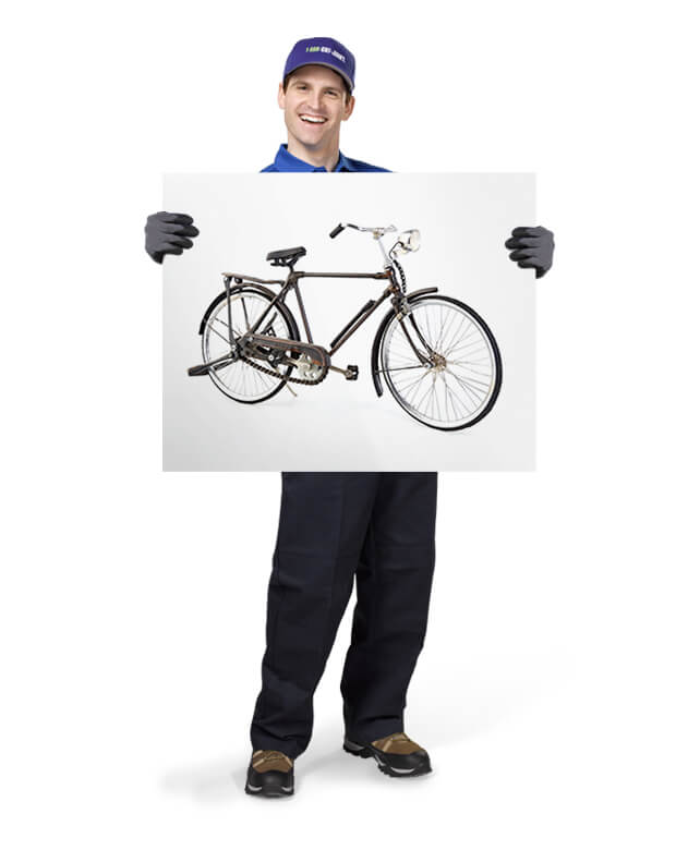 Uniformed TOM ready to remove & dispose of your old bicycles