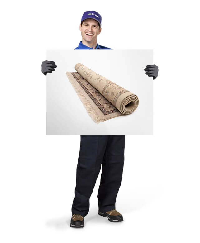 Uniformed TOM ready to remove & dispose of your old carpeting