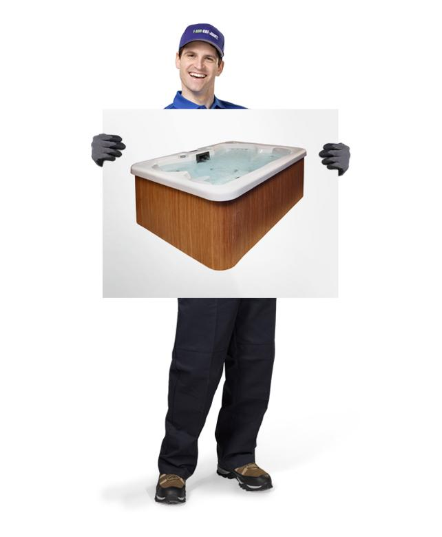 Uniformed TOM ready to remove & dispose of your old hot tub