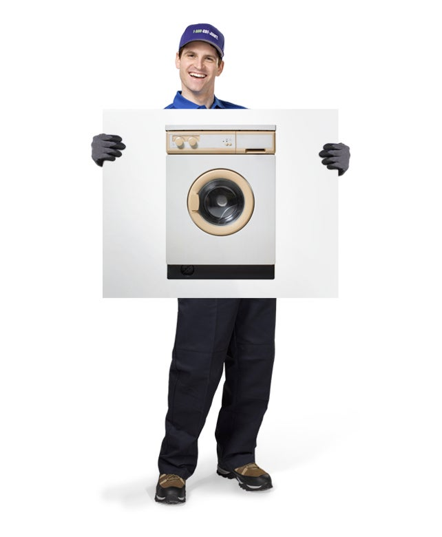 Uniformed TOM ready to haul away your old or broken appliances